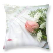 Baby Girl Dress Throw Pillow by Diane Diederich