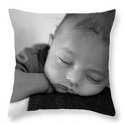 Baby Sleeps Throw Pillow by Lisa Phillips