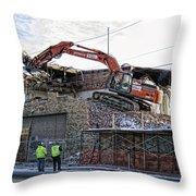Backhoe Demolition Throw Pillow by Daniel Hagerman