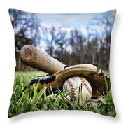 Backyard Baseball Memories Throw Pillow by Cricket Hackmann