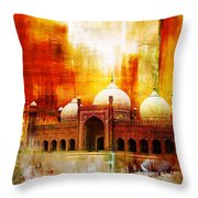 Badshahi Mosque Or The Royal Mosque Throw Pillow by Catf