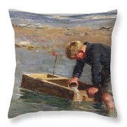 Bailing Out The Boat Throw Pillow by William Marshall Brown