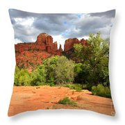 Balance At Cathedral Rock Throw Pillow by Carol Groenen