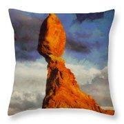 Balanced Rock At Sunset Digital Painting Throw Pillow by Mark Kiver
