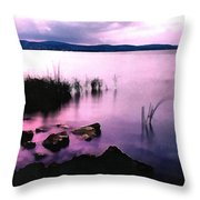 Balaton By Night Throw Pillow by Odon Czintos