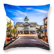 Balboa Main Street In Newport Beach Picture Throw Pillow by Paul Velgos
