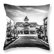 Balboa Pavilion Newport Beach Black And White Picture Throw Pillow by Paul Velgos