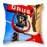 Balboa Pharmacy Drug Store Newport Beach Photo Throw Pillow by Paul Velgos