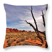 Bald Tree At Arches Throw Pillow by Benjamin Yeager