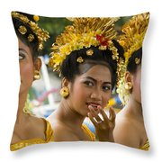 Balinese Dancers Throw Pillow by David Smith