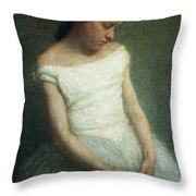 Ballerina female dancer Throw Pillow by Angelo Morbelli