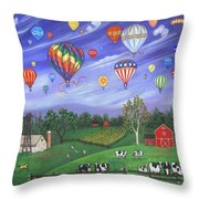 Balloon Race One Throw Pillow by Linda Mears