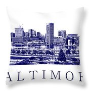 Baltimore Blueprint Throw Pillow by Olivier Le Queinec
