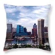 Baltimore Skyline - Generic Throw Pillow by Olivier Le Queinec