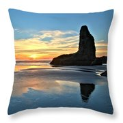 Bandon Oregon Sunset Throw Pillow by Adam Jewell