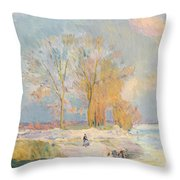 Banks Of The Seine And Vernon In Winter Throw Pillow by Albert Charles Lebourg