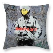 Banksy  Throw Pillow by A Rey