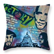 Barack and Common and Kanye Throw Pillow by TONY B CONSCIOUS