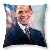 Barack Obama Throw Pillow by Viola El