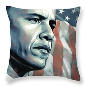 Barack Obama Artwork 2 B Throw Pillow by Sheraz A