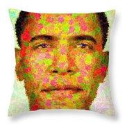 Barack Obama - Maple Leaves Throw Pillow by Samuel Majcen