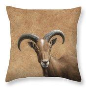 Barbary Ram Throw Pillow by James W Johnson