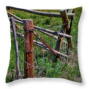 Barbed Wire Throw Pillow by Janice Rae Pariza