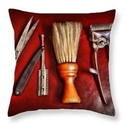 Barber - After The Haircut Throw Pillow by Paul Ward