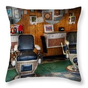 Barber - Frenchtown Nj - Two Old Barber Chairs  Throw Pillow by Mike Savad