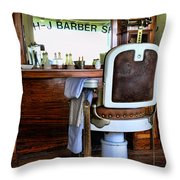 Barber - The Barber Shop Throw Pillow by Paul Ward