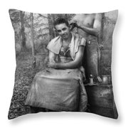 Barber - Wwii - Gi Haircut Throw Pillow by Mike Savad