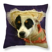 Barbie In A Hat Throw Pillow by Nina Fosdick