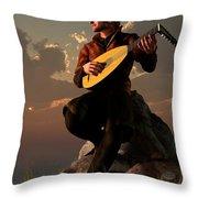 Bard With Lute Throw Pillow by Daniel Eskridge
