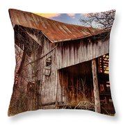 Barn At Sunset Throw Pillow by Brett Engle