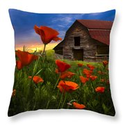 Barn In Poppies Throw Pillow by Debra and Dave Vanderlaan