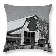 Barn Sketch Effect Iv Throw Pillow by Debbie Portwood