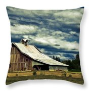 Barn Throw Pillow by Steve McKinzie