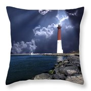 Barnegat Inlet Lighthouse Nj Throw Pillow by Skip Willits