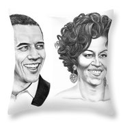 Barrack And Michelle Obama Throw Pillow by Murphy Elliott