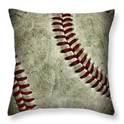 Baseball - A Retired Ball Throw Pillow by Paul Ward