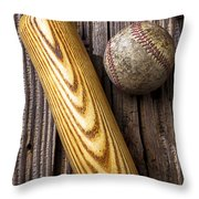 Baseball Bat And Ball Throw Pillow by Garry Gay