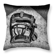 Baseball Catchers Mask Vintage In Black And White Throw Pillow by Paul Ward