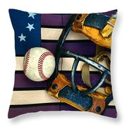 Baseball Catchers Mask Vintage On American Flag Throw Pillow by Paul Ward