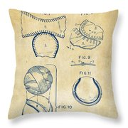 Baseball Construction Patent 2 - Vintage Throw Pillow by Nikki Marie Smith