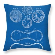 Baseball Construction Patent - Blueprint Throw Pillow by Nikki Marie Smith