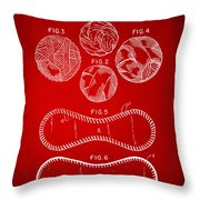 Baseball Construction Patent - Red Throw Pillow by Nikki Marie Smith