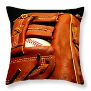 Baseball Glove With Ball Throw Pillow by Danny Hooks