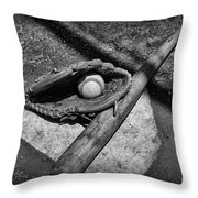 Baseball Home Plate in black and white Throw Pillow by Paul Ward