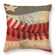 Baseball Is Sewn Into The Fabric Throw Pillow by Heidi Smith