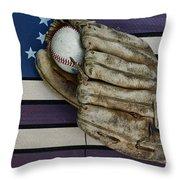 Baseball Mitt On American Flag Folk Art Throw Pillow by Paul Ward